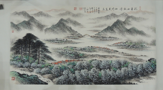 书法师从南粤名家王永华、陈景舒老师,国华师从著名岭南山水